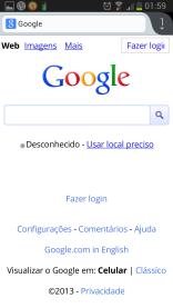 Página do Google, versão mobile.