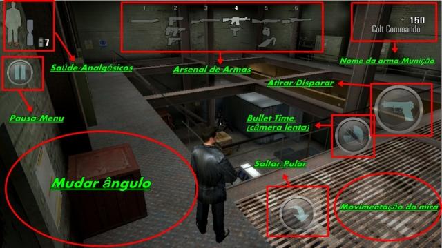 Max Payne botões do jogo android