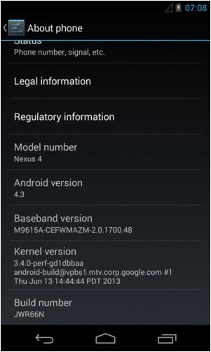 Android 4.3 no Nexus 4